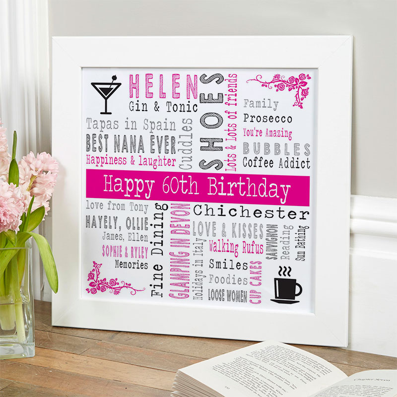 Personalised 60th Unique Birthday Gifts For Her