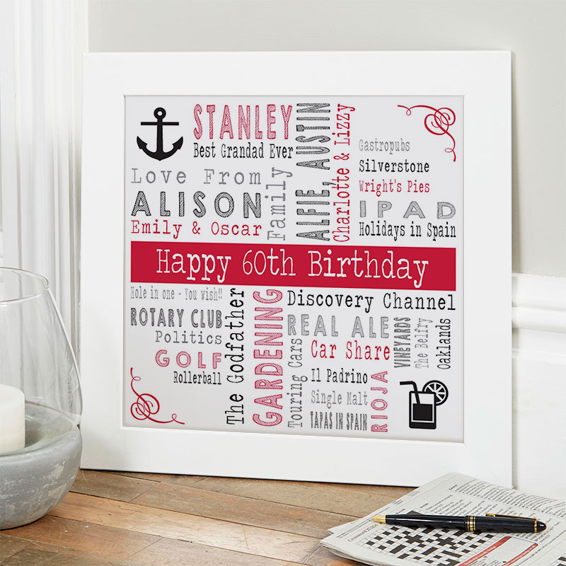 60th birthday gift ideas for him personalised square corners
