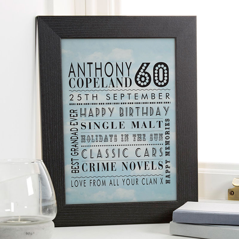 60th birthday unique gift for him