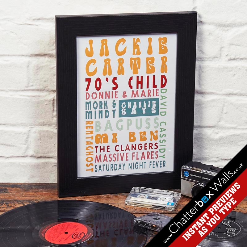 personalised birthday present 70's font art print