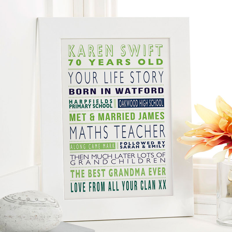 Personalised 70th Birthday Memory Gifts For Her