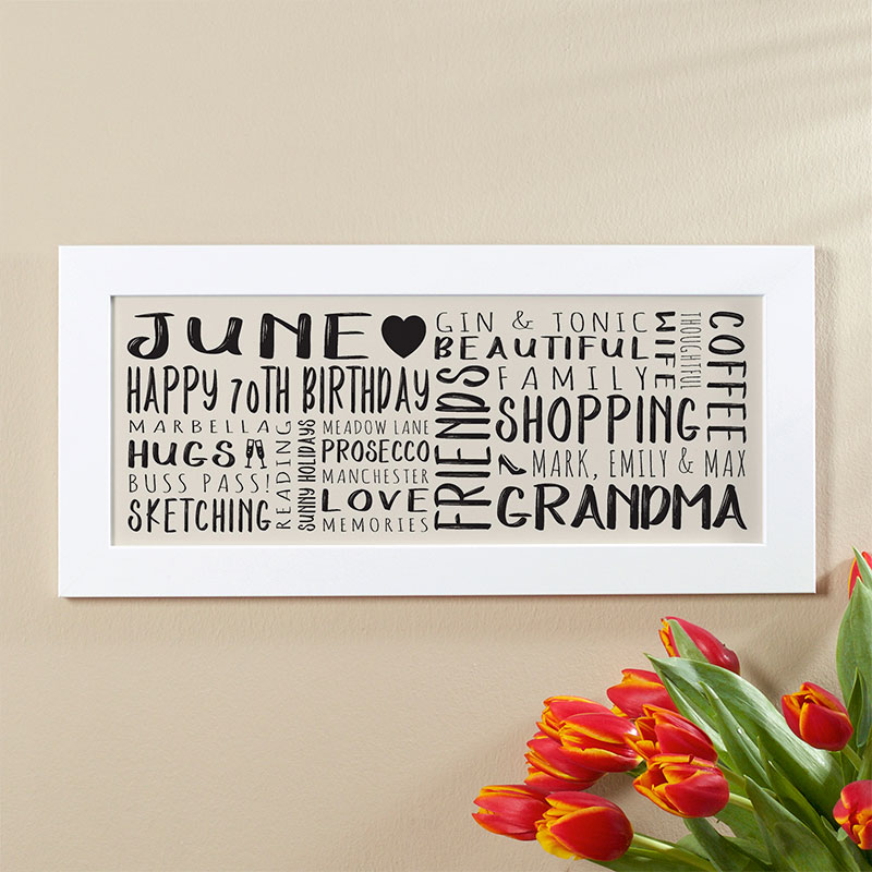 70th Birthday Gift Ideas For Her Of Unique Word Art