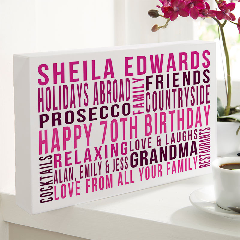 Personalised 70th Birthday Gifts For Her With Words