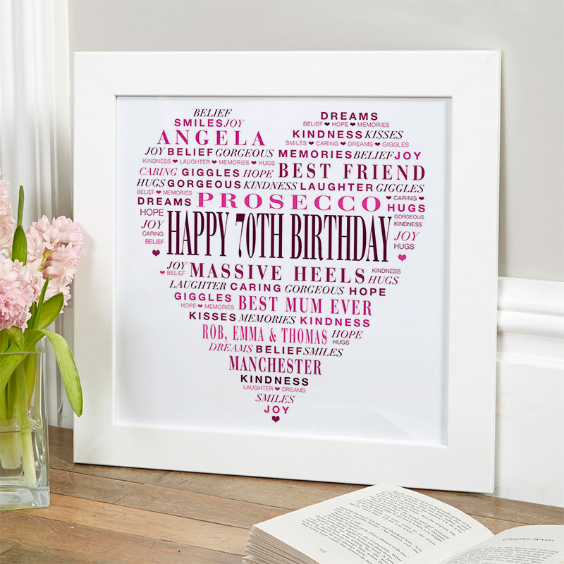 Personalised 70th Birthday Present Gift For Her