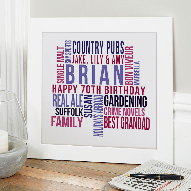 personalised present for husband 70th birthday memories