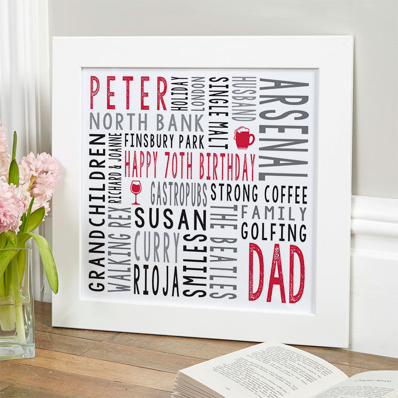 70th birthday gift for him personalised