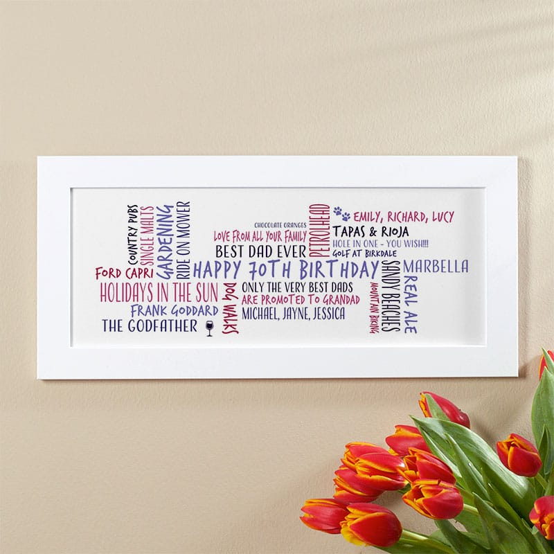 70th birthday gift idea for him personalised word cloud picture print