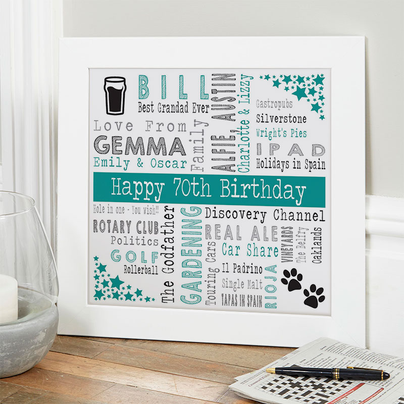 70th birthday gift ideas for him personalised square corners