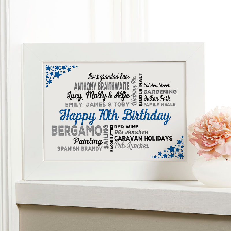 unusual 70th birthday gift for him framed picture
