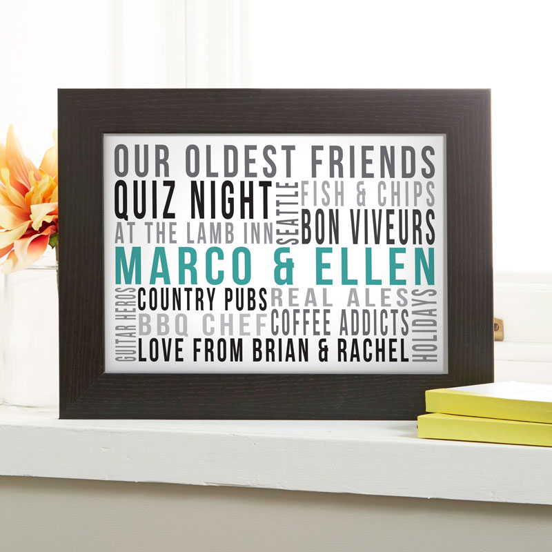 Personalised gifts for Couples Typographic word art Prints Posters Canvas