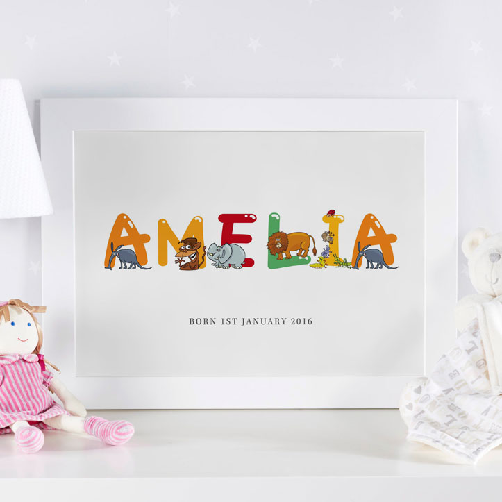 personalised baby name art framed gift