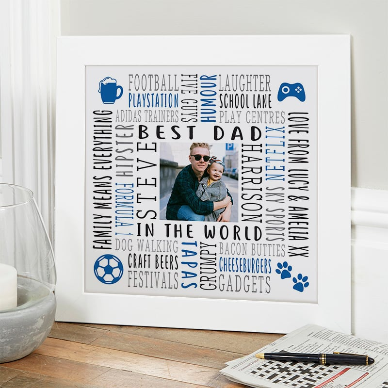 Personalised Gift For Dad Bespoke Photo Wall Art With Text