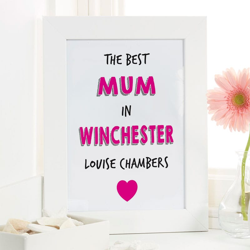 best mum in personalised picture print