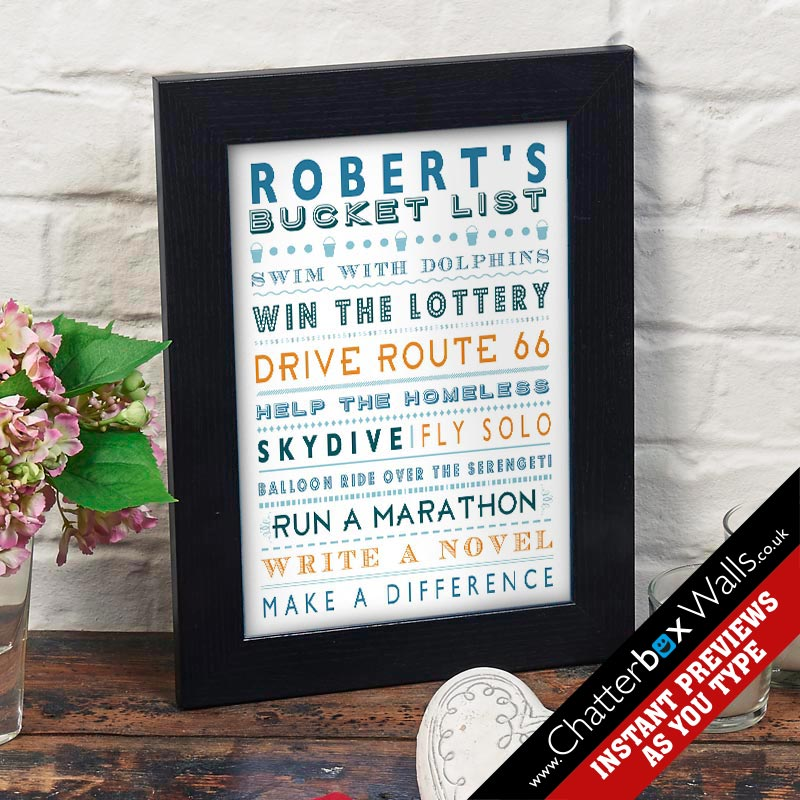 personalised bucket list framed print