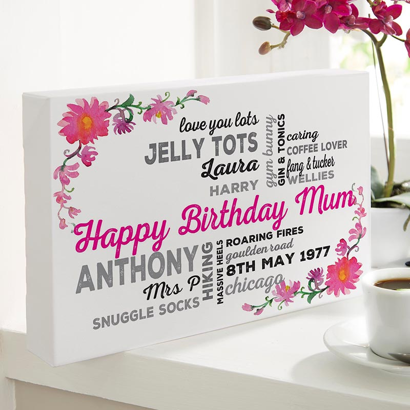 Personalised Typography birthday gift for mum custom Canvas Floral Background