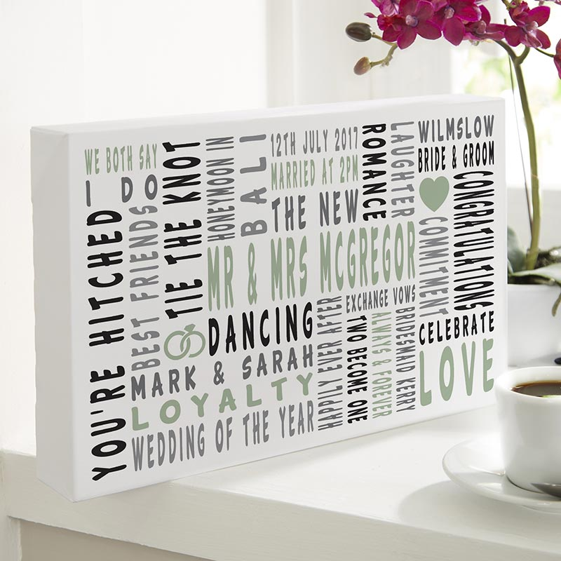 Personalised Typography Prints Canvases For Wedding Gifts