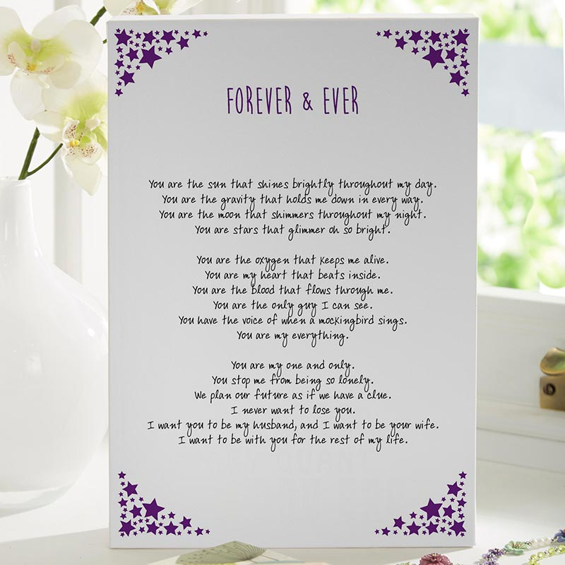 personalised poem or verse prints canvases preview on screen