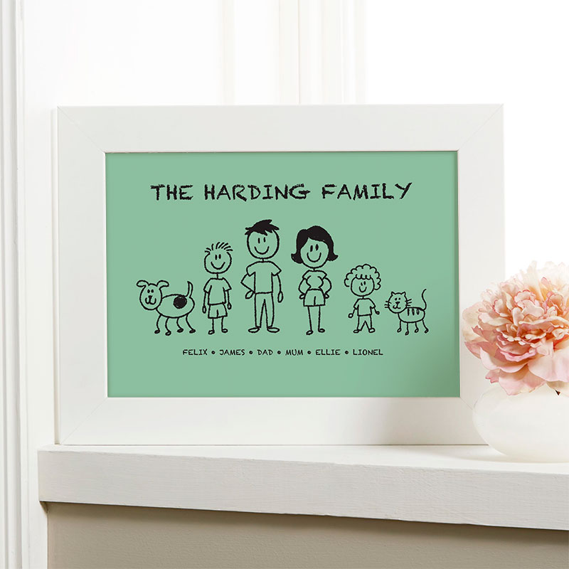 personalised christmas gift family characters picture