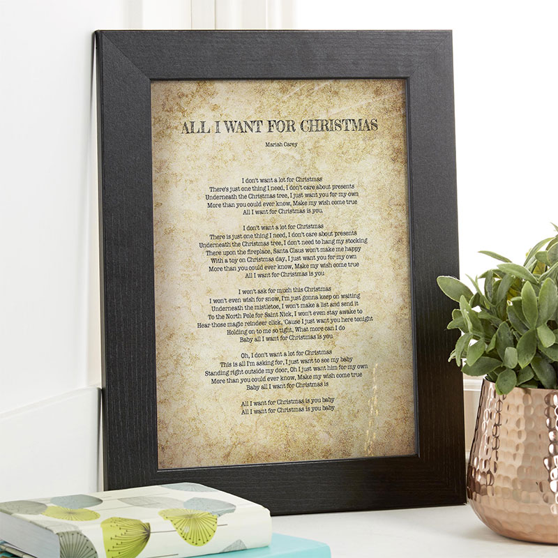 personalised christmas gift song lyrics wall art
