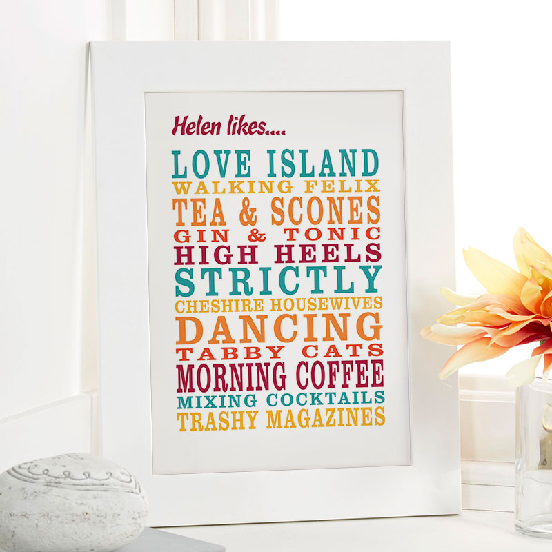 christmas present inspiration personalised likes framed picture print