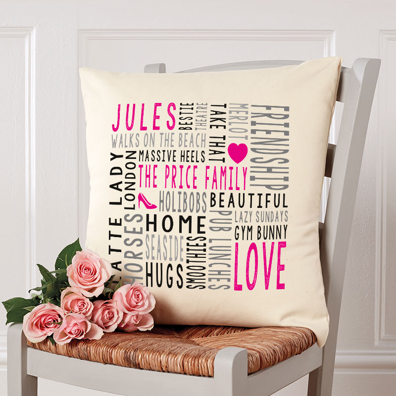 christmas gift of personalised cushion