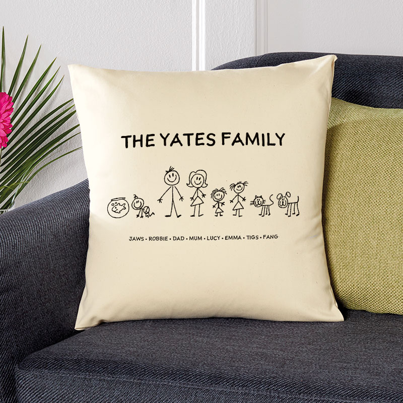 cushion with family characters personalised christmas gift