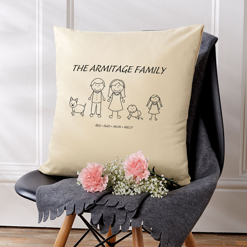 personalised christmas gift cushion family characters