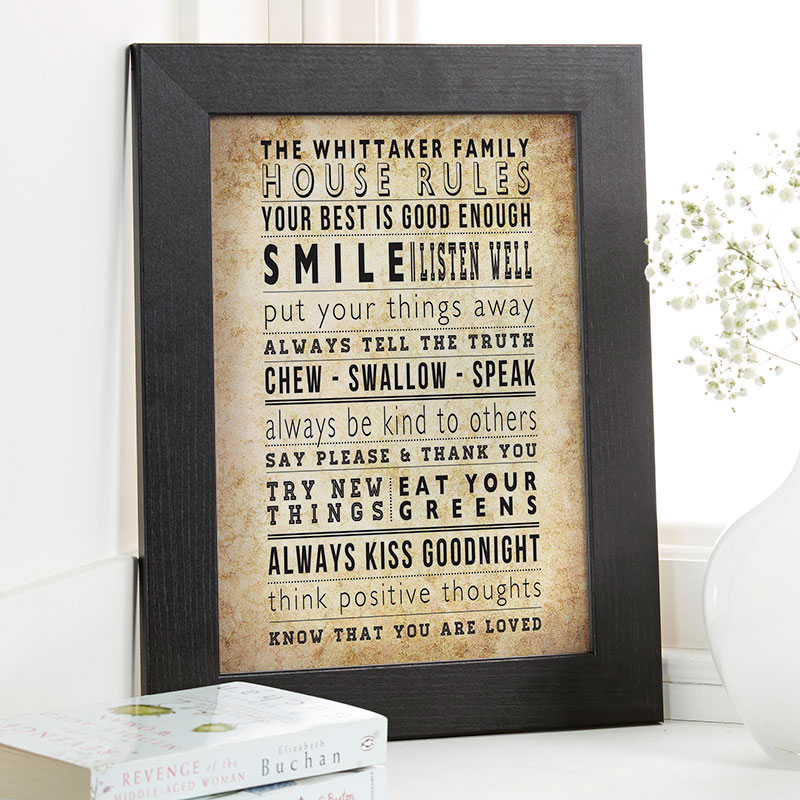 house family rules wall art print