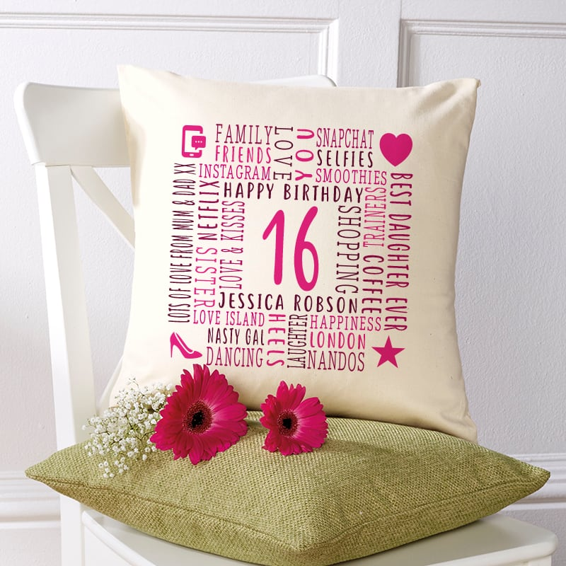 16th birthday gift ideas cushion with words