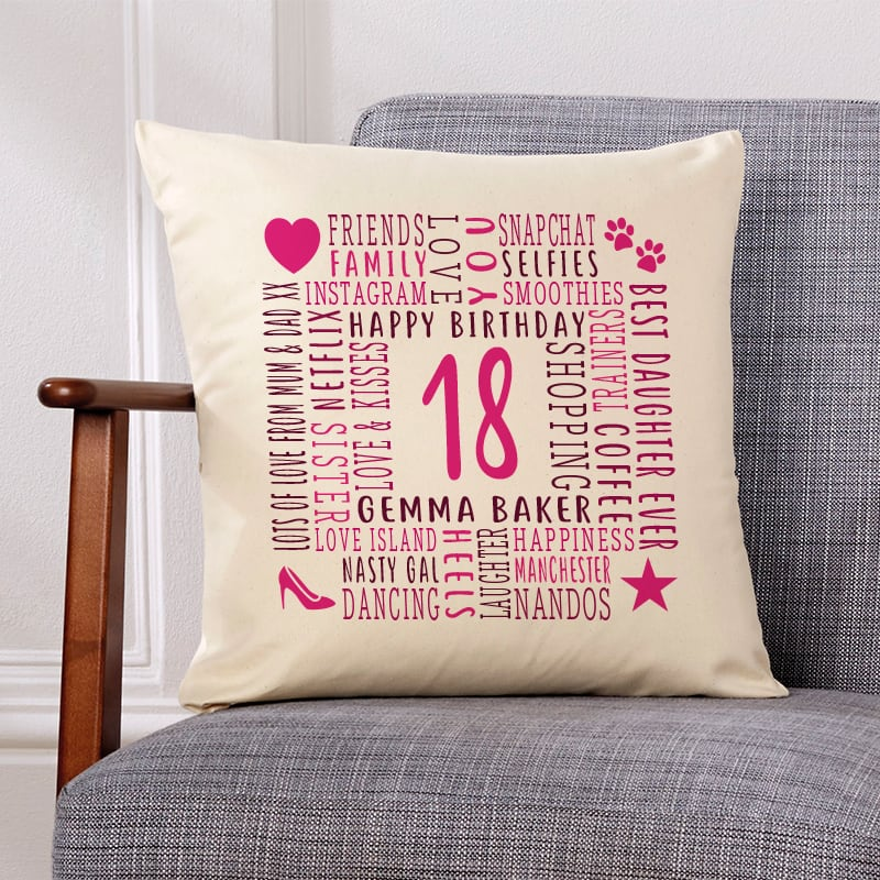 18th birthday gift ideas cushion with text