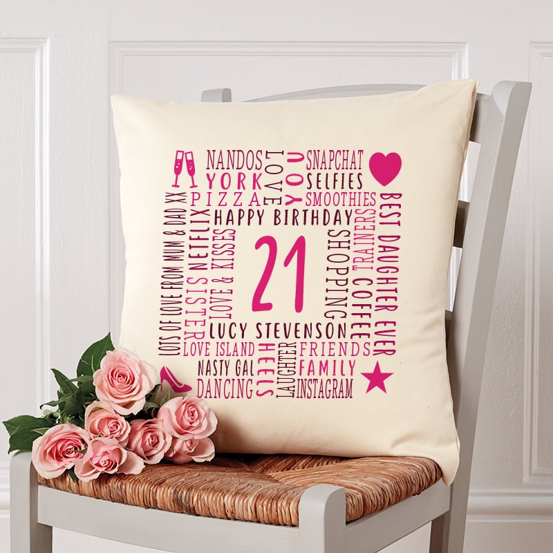 21st birthday gift ideas cushion with text