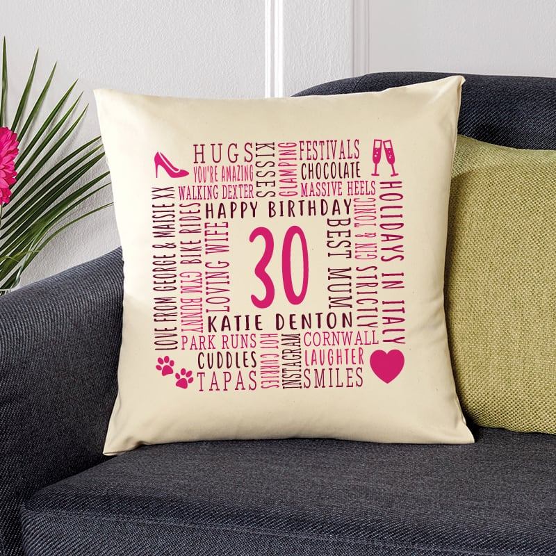 30th birthday gift pillow cushion with text