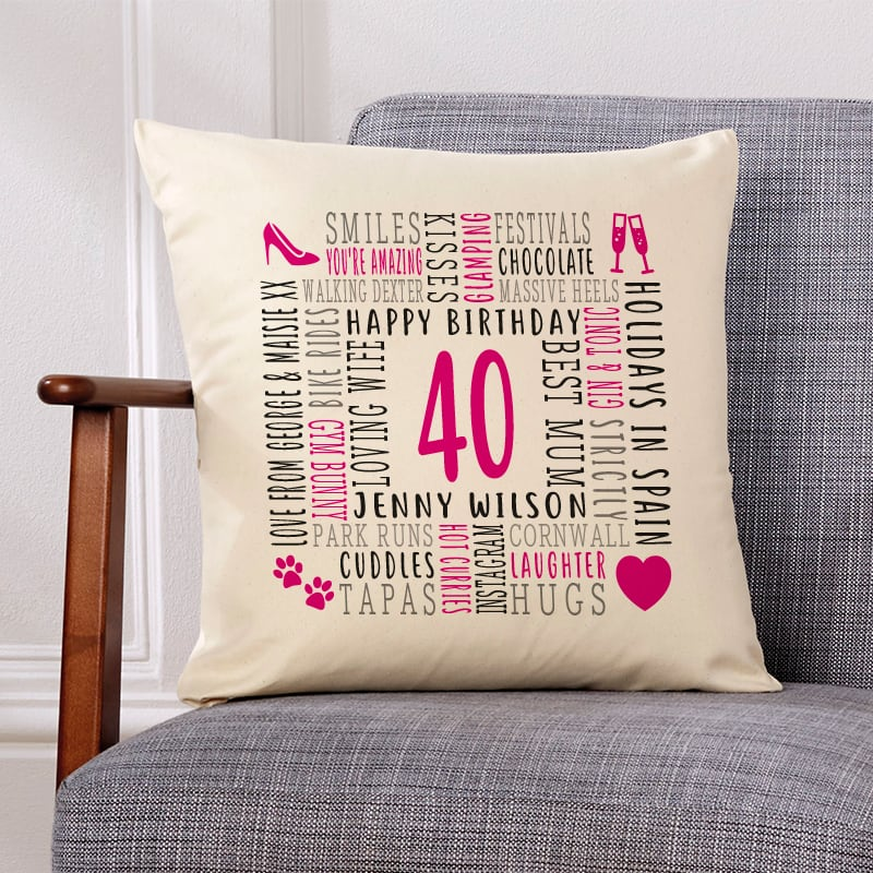 40th birthday gift pillow cushion with text
