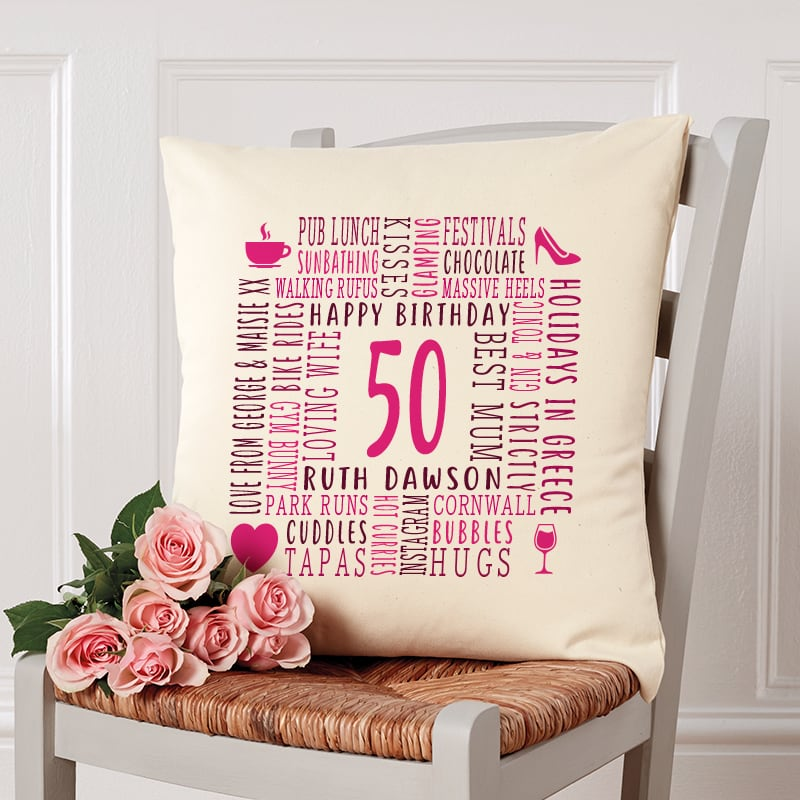 50th birthday gift pillow cushion with text