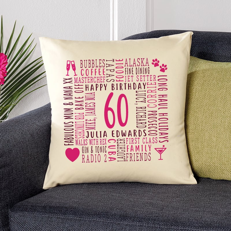 60th birthday gift pillow cushion with text