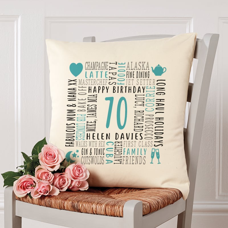 70th birthday gift pillow cushion with text