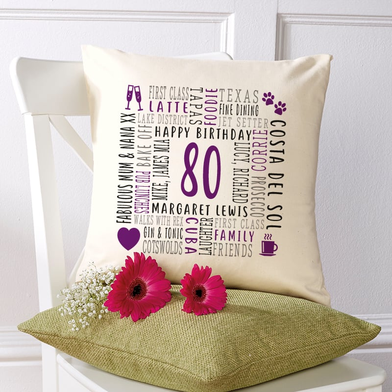 80th birthday gift pillow cushion with text