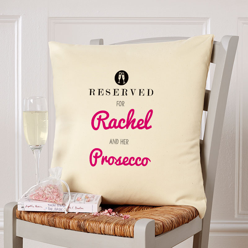 personalised prosecco cushion