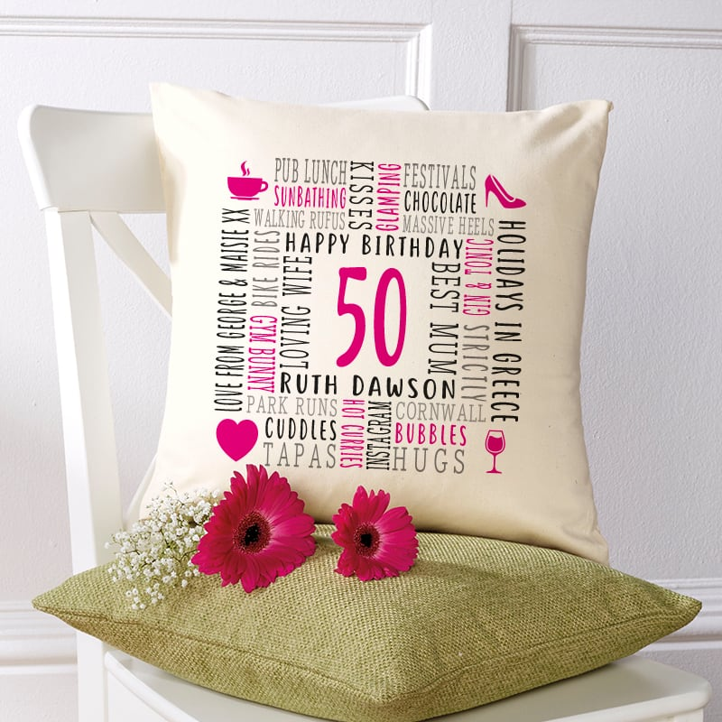 birthday gift ideas personalised age cushion