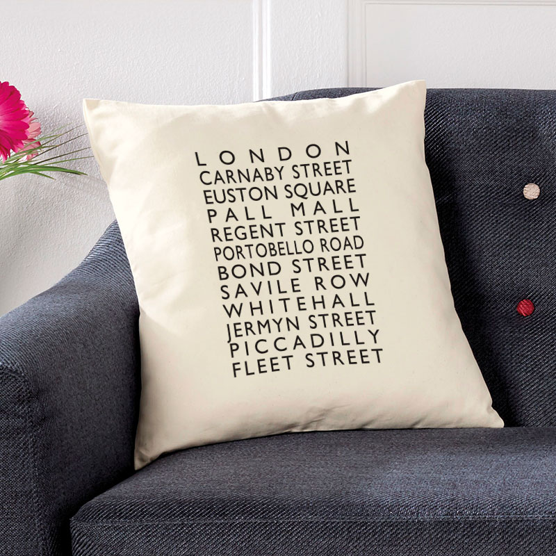 personalised cushion london bus