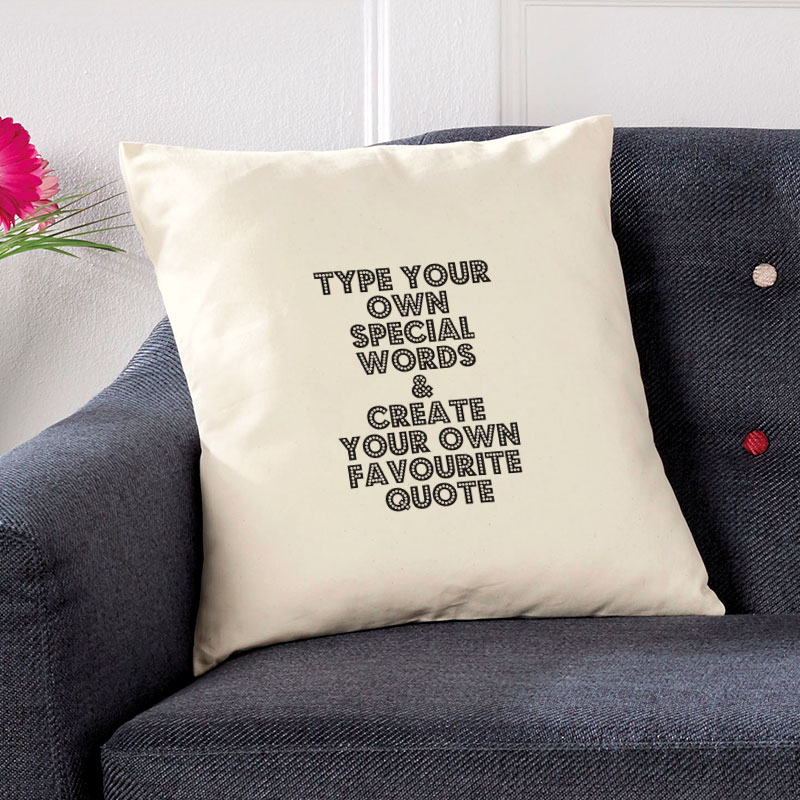 personalised cushion with quote