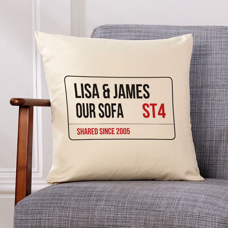 personalised cushion london street sign gift