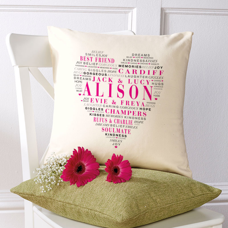 love heart personalised cushion