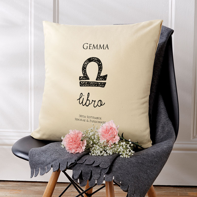 zodiac star sign personalised cushion