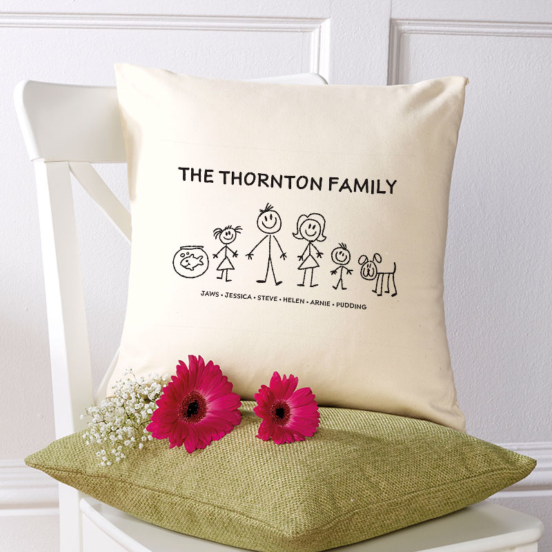 personalised cushion family characters