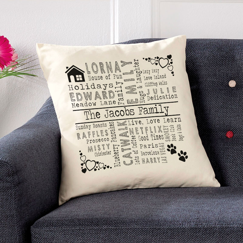 personalised cushion with words