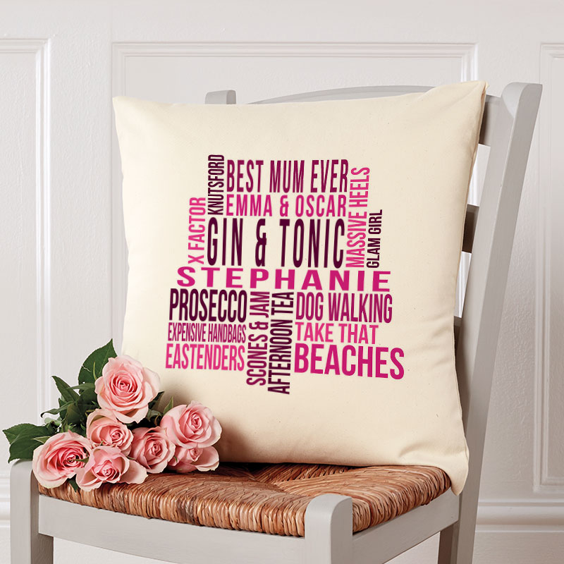 word art cushion