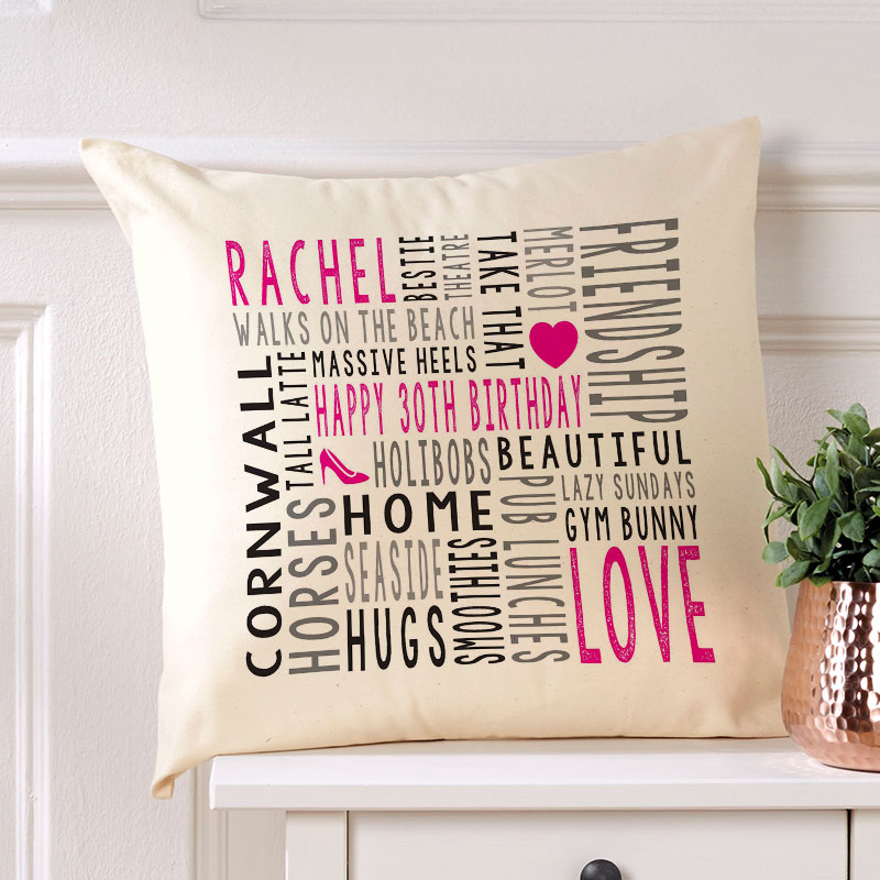 word art cushion personalised