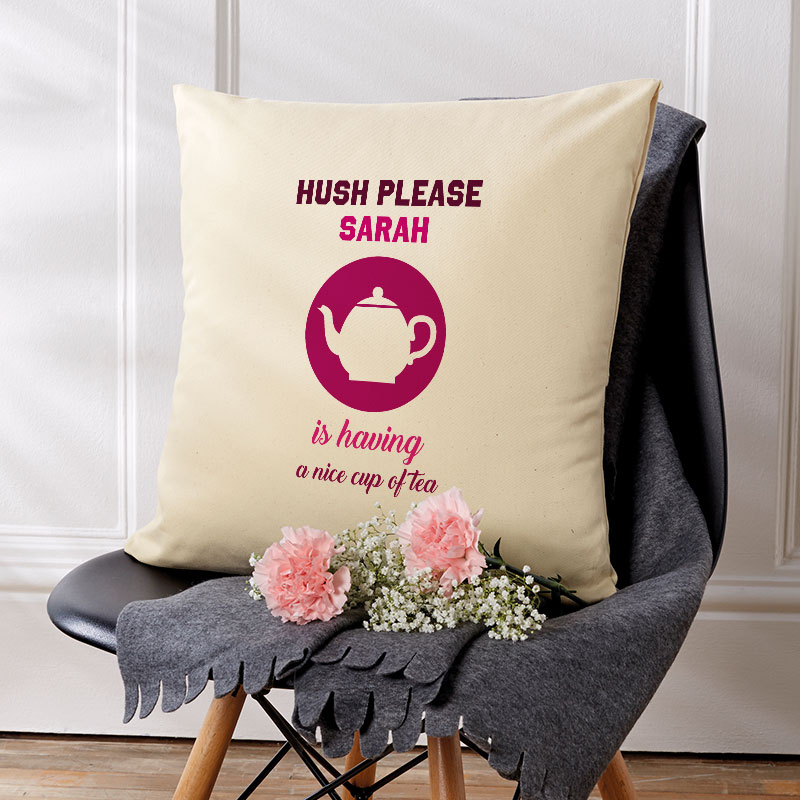 personalised cushions gift tea relax