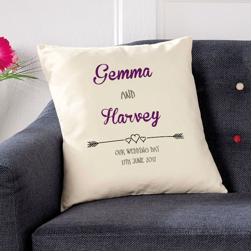 cushion with text for couples